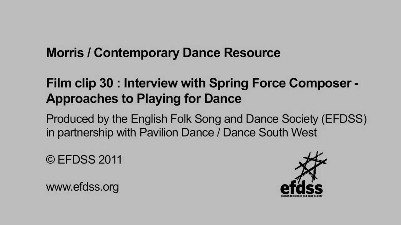 Film 30: Interview with Spring Force composer - Approaches to Playing for Dance